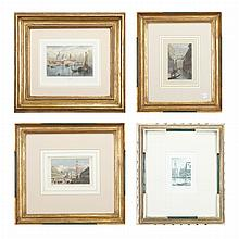 Various Artists [VIEWS OF VENICE] Three hand-colored engravings and an etching (4)