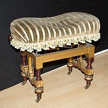Renaissance Revival Style Gilt-Wood and Upholstered Bench