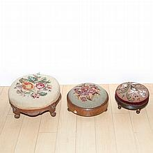 Group of Three Needlepoint Upholstered Stools