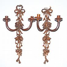 Pair of French Style Carved Wood Two-Light Sconces