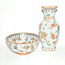Pair of Chinese Porcelain Vases and a Bowl en Suite