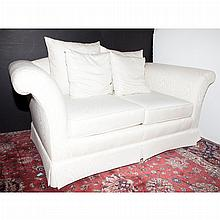 Pair of White Upholstered Sofas