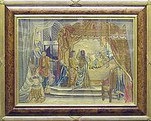 Continental Silk Needlework Picture of a Biblical Scene