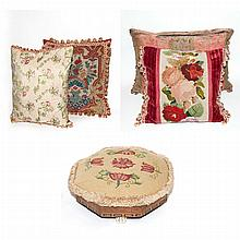 Group of Six Pillows; And an Upholstered Footstool and Ottoman