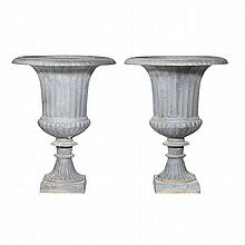 Pair of Neoclassical Style Cast Iron Garden Urns