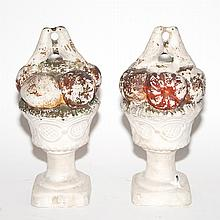 Pair of Ceramic Fruit and Bird Decorated Urns