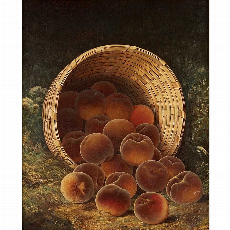 William Mason Brown American, 1828-1898 Peaches in a Basket