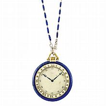Gentleman's Gold, Lapis and Enamel Watch, European Watch & Clock Co., Inc., France, with Platinum and Lapis Bead Watch Fob Chain