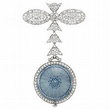 Belle Epoque Platinum, Diamond and Blue Guilloche Enamel Lapel Watch, Tiffany & Co.