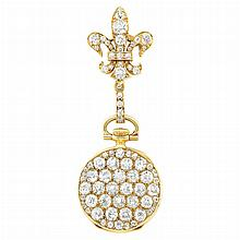 Antique Gold and Diamond Lapel Watch, Tiffany & Co.