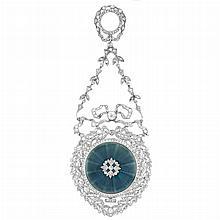 Belle Epoque Platinum, Diamond and Blue Guilloche Enamel Lapel Watch, Longines