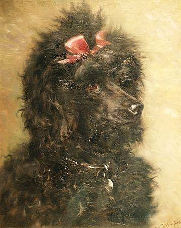 William Luker, Jr. British, 1867-1951 Portrait of a Black Poodle with a Pink Bow, 1916