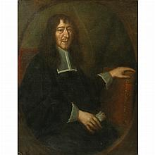 Dutch School 17th Century Portrait of a Man with his Hand on a Book
