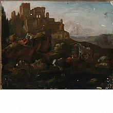 Dutch School 17th Century Figures and Livestock Near Ruins on a Hillside