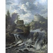 Dutch School 17th/18th Century Scandinavian Landscape with a Torrent
