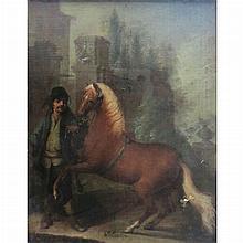 Dutch School 17th/18th Century A Polish Horseman Holding His Mount
