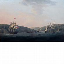 English School 19th Century British Ships Surveying Wreckage off a Coast