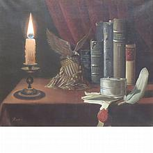 20th Century School Still Life with Candle, Books and Inkpot on a Table