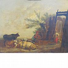 Dutch School 18th/19th Century Pastoral Scene  Signed indistinctly (lr) Oil on panel 10 3/8 x 13 1/4 inches (2...