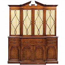 George III Style Walnut Breakfront Bookcase Cabinet