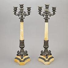 Pair of Restauration Patinated-Bronze and Marble Four-Light Candelabra