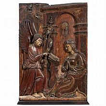 Continental Polychrome Painted Gessoed Wood Panel of the Annunciation