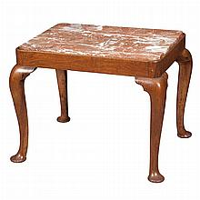 George II Style Walnut Marble Inset Low Table