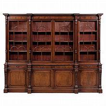 Georgian Style Mahogany Breakfront Bookcase Cabinet