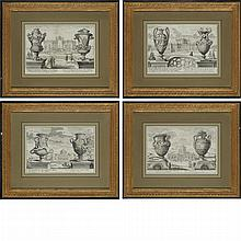 Artist Unknown [VASE DESIGNS] Four engravings