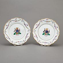 Pair of Chinese Export Glazed Porcelain Plates