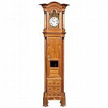 French Fruitwood and Part Ebonized Longcase Clock