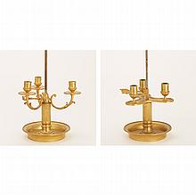 Two Empire Style Gilt-Metal Bouillotte Lamps