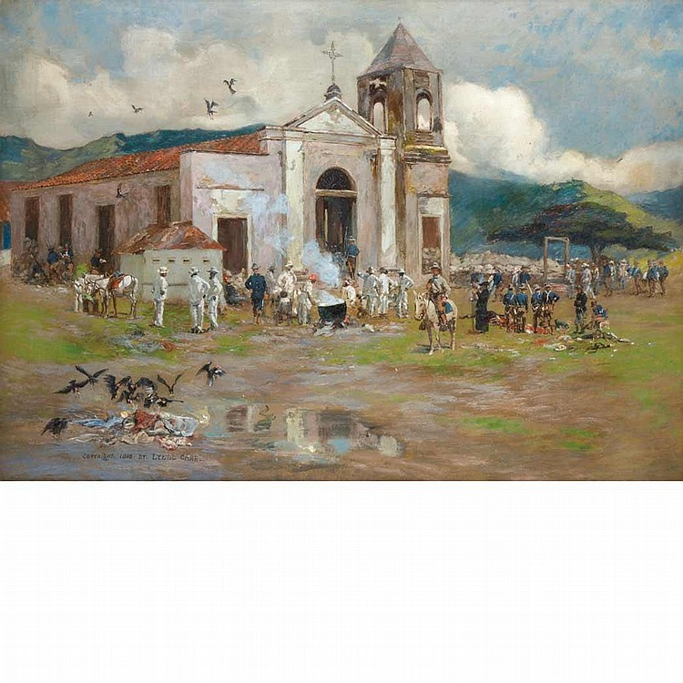 Lyell E. Carr American, 1857-1912 At the Church of San Luis after the firing ceased at the Battle of El Caney, July 1, 1898