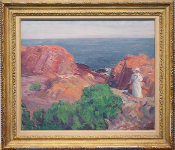 John Sloan 1871-1951 DOLLY IN WHITE, ROCKS AND SEA Signed John Sloan (lr) Oil on canvas 20 1/4 x 24 1/4 inch...