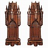 Pair of English Gothic Revival Walnut Wall Brackets