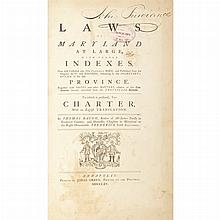 [MARYLAND] BACON, THOMAS-compiler. Laws of Maryland at large, with proper indexes. Now first collected into one compleat body,...