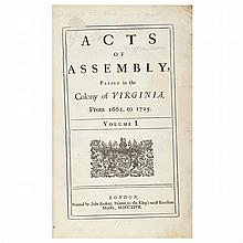 [VIRGINIA and MARYLAND] Acts of Assembly, passed in the Colony of Virginia, from 1662, to 1715. Volume I [all published]. Lo...