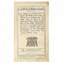 [MARYLAND] Laws of Maryland, Description enacted at a session of Assembly, begun and held at the city of Annapolis, on Tuesday,...