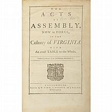 [VIRGINIA] The acts of Assembly, now in force, in the colony of Virginia. With an exact table to the whole. Published by order of th...