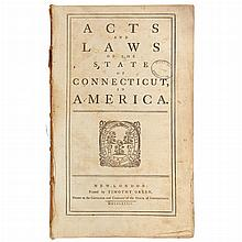 [CONNECTICUT] Acts and laws of the state of Connecticut, in America. New-London: Timothy Green, 1784. First edition. Contemp...
