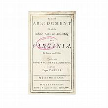 [VIRGINIA] MERCER, JOHN. An exact abridgment of all the public acts of assembly, of Virginia, in force and use. Together with s...