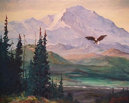 Harvey B. Goodale American, 1900-1980 Alaskan Landscape with Bald Eagle