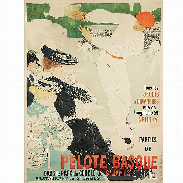 Clementine-Helene Dufau (1869-1937) PELOTE BASQUE Color lithograph