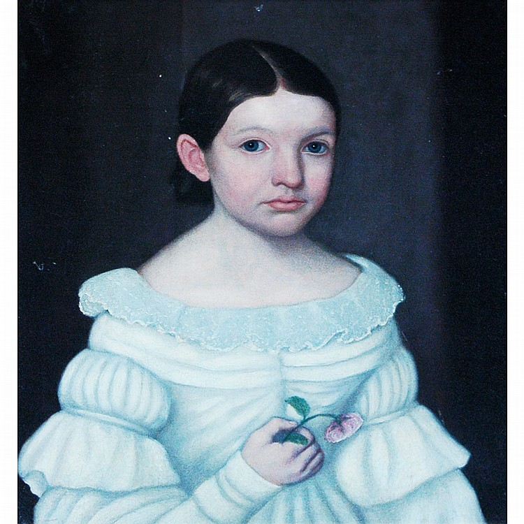 American School 19th Century Young Girl with a Flower her Hand