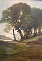 William Sartain American, 1843-1924 Wooded Landscape with Figures by a Stream, William Sartain, Click for value