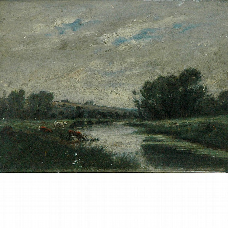 Manner of Charles Daubigny On the Marsh