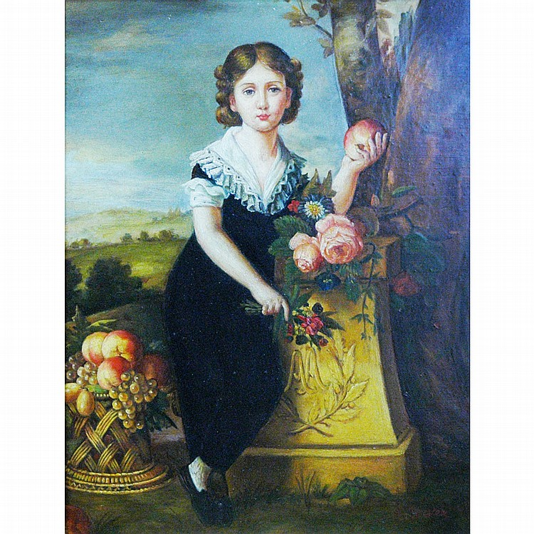 20th Century School Portrait of a Young Girl in a Landscape Holding a Peach and Flowers