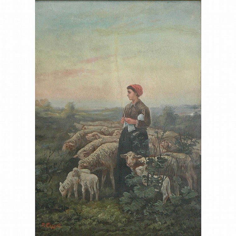 Continental School 20th Century Shepherdess and Her Sheep