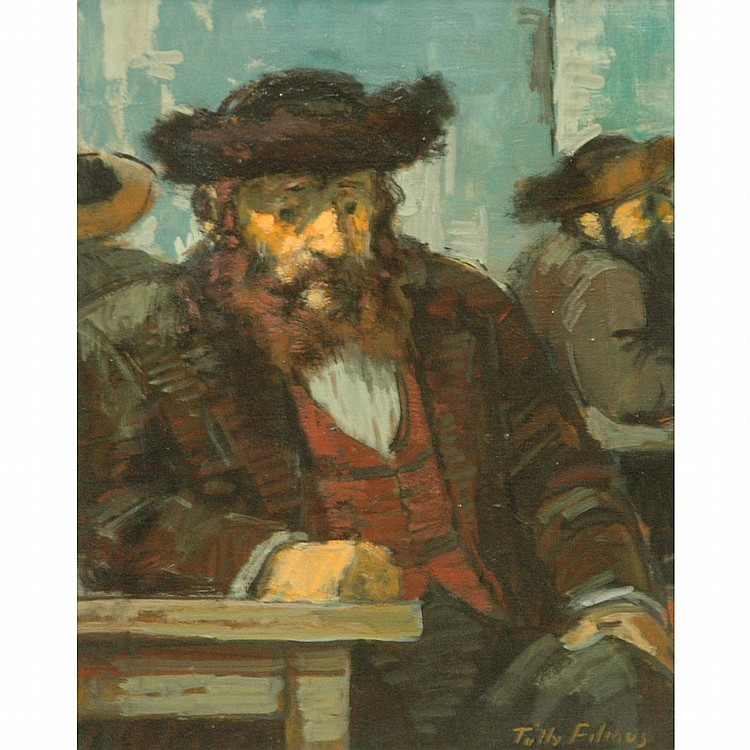 Tully Filmus American, 1903-1998 Seated Man   Signed Tully Filmus (lr) Oil on canvas 14 x 11 1/8 inch...