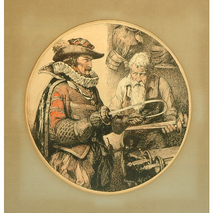Roy Huse Collins American, 1883-1949 A Musketeer's Choice   Signed RH Collins (lr)  Ink and watercolor on...